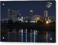 Fort Worth Skyline Super Moon Acrylic Print