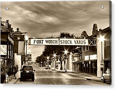 Fort Worth Stock Yards In Sepia Acrylic Print