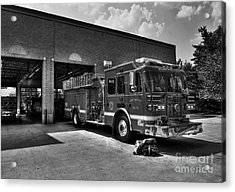 Fort Wright Fire Station Bw Acrylic Print by Mel Steinhauer