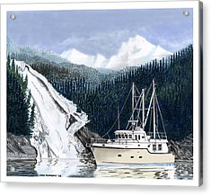 Forty Foot Nordhavn Northern Anchorage Acrylic Print by Jack Pumphrey