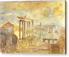 Forum Romano Acrylic Print by Juan  Bosco