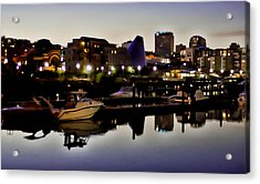 Foss Waterway At Night Acrylic Print by Ron Roberts