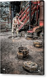 Foundry Worker Acrylic Print by Adrian Evans