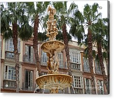 Fountain And Palms - Malaga Acrylic Print