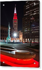 Fountain And Terminal Tower In Red Acrylic Print