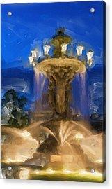 Fountain At Dusk Acrylic Print by Ayse Deniz