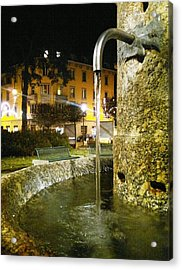 Fountain At Night Acrylic Print by Giuseppe Epifani