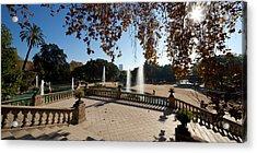 Fountain In A Park, Parc De La Acrylic Print by Panoramic Images