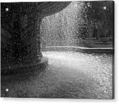 Acrylic Print featuring the photograph Fountain In Black And White by Richard Stephen