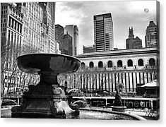 Fountain In Bryant Park Mono Acrylic Print