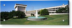 Fountain In Front Of A Library, Lyndon Acrylic Print by Panoramic Images
