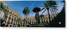 Fountain In Front Of A Palace, Placa Acrylic Print by Panoramic Images
