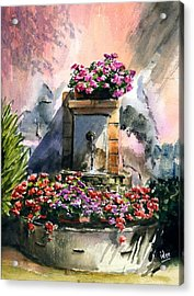Fountain In Moustier-st-marie Acrylic Print by Ivo Depauw