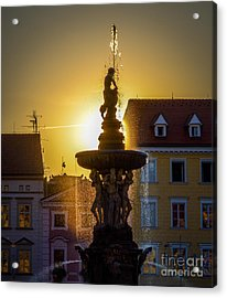 Fountain In Sunset Acrylic Print by Filip Masopust