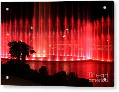Fountain Of Red Acrylic Print by Geraldine DeBoer