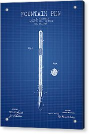 Fountain Pen Patent From 1884 - Blueprint Acrylic Print by Aged Pixel