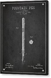 Fountain Pen Patent From 1884 - Charcoal Acrylic Print by Aged Pixel