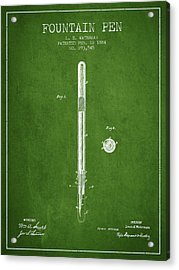 Fountain Pen Patent From 1884 - Green Acrylic Print by Aged Pixel