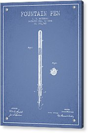 Fountain Pen Patent From 1884 - Light Blue Acrylic Print by Aged Pixel
