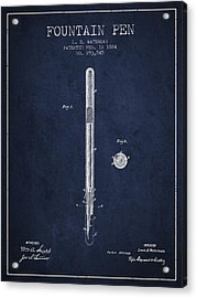 Fountain Pen Patent From 1884 - Navy Blue Acrylic Print by Aged Pixel