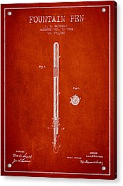 Fountain Pen Patent From 1884 - Red Acrylic Print by Aged Pixel