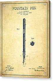 Fountain Pen Patent From 1884 - Vintage Acrylic Print by Aged Pixel