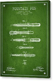 Fountain Pen Patent From 1905 - Green Acrylic Print by Aged Pixel
