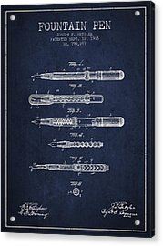 Fountain Pen Patent From 1905 - Navy Blue Acrylic Print by Aged Pixel