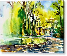 Fountain Spray - Brussels In Spring Acrylic Print by Anna Lobovikov-Katz