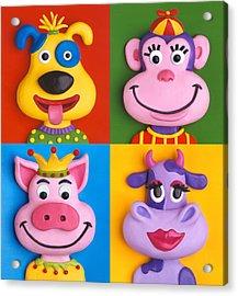 Four Animal Faces Acrylic Print by Amy Vangsgard