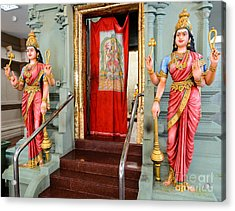 Four-armed Deities Guard The Inner Sanctum Of A Hindu Temple Acrylic Print by David Hill