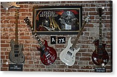 Acrylic Print featuring the photograph Vintage Four Autographed Guitars And Signed Record From Bands Avenged Sevenfold- The Off Spring  by Renee Anderson