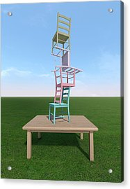 Four Chairs Stacked On A Table Acrylic Print
