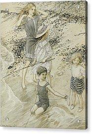 Four Children At The Seashore Acrylic Print by Arthur Rackham