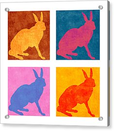 Four Colorful Rabbits Acrylic Print by Carol Leigh