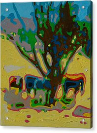 Four Cows Under Tree Oil Painting By Bertram Poole Acrylic Print by Thomas Bertram POOLE