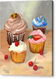 Four Cupcakes Acrylic Print by Susan Thomas