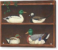 Four Duck Decoys Acrylic Print by Linda Mears