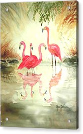 Four Flamingos Acrylic Print