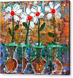 Four Flowers Four Vessels Acrylic Print by Cleaster Cotton