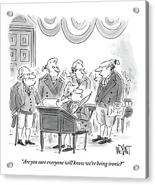 Four Founding Fathers Discuss The Writing Acrylic Print