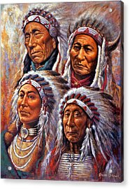 Acrylic Print featuring the painting Four Great Lakota Leaders by Harvie Brown