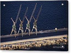 Four Harbour Cranes On Dike Acrylic Print by Sami Sarkis