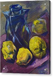 Four Lemons And A Blue Vase Acrylic Print