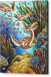 Acrylic Print featuring the painting Four Loggerhead Turtles by Nancy Tilles