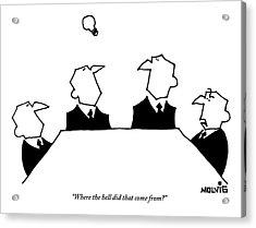 Four Men Sit Around A Table Acrylic Print by Ariel Molvig