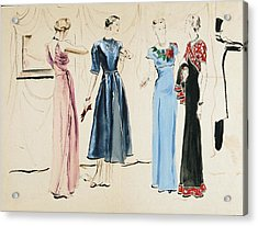 Four Models In Dresses By Alix Acrylic Print by Rene Bouet-Willaumez