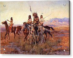 Four Mounted Indians Acrylic Print by Charles Russell