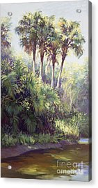 Four Palm Plaza Acrylic Print by Laurie Hein