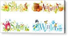 Four Seasons Spring, Summer, Autumn Acrylic Print by O-che